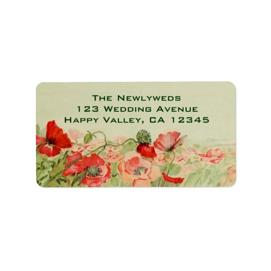 Vintage Wedding, Red Poppy Flowers Floral Meadow Label