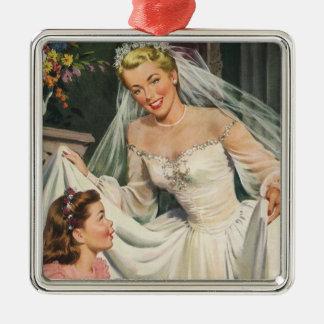 Vintage Wedding, Retro Bride with Flower Girl Metal Ornament