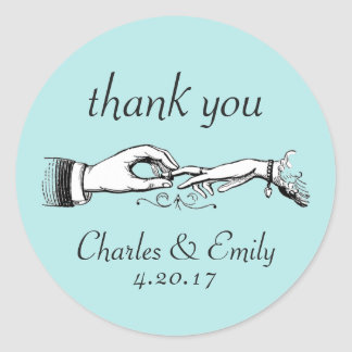 Vintage Wedding Ring Thank You Aqua Sticker
