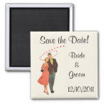 Vintage Wedding Romantic Newlyweds, Save the Date Square Magnet