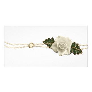 Vintage Wedding Rose Custom Photo Card