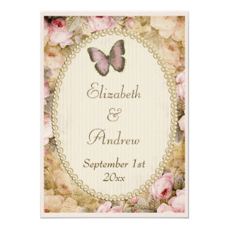Vintage Wedding Roses Butterfly, Music Notes Card