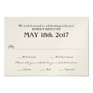 Vintage Wedding RSVP card with MEAL selections