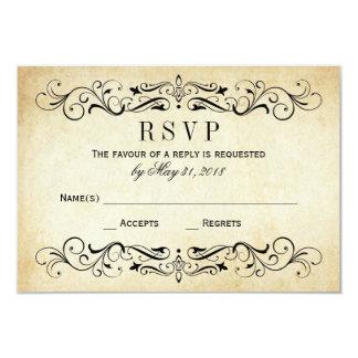 Vintage Wedding RSVP Cards | Elegant Flourish 9 Cm X 13 Cm Invitation Card