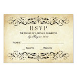 Vintage Wedding RSVP Postcards | Elegant Flourish 9 Cm X 13 Cm Invitation Card
