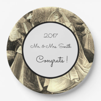 Vintage-Wedding-Sepia-Engagement_Template-Congrats 9 Inch Paper Plate