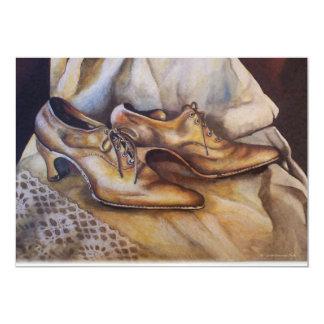 Vintage Wedding Shoes with Lace 13 Cm X 18 Cm Invitation Card