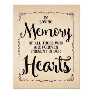 Vintage wedding sign, loving memory wedding photo print