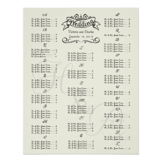 Vintage Wedding Special Event Guest Seating Chart