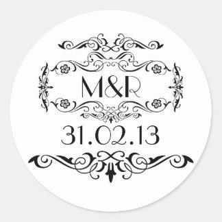 vintage wedding stickers black and white