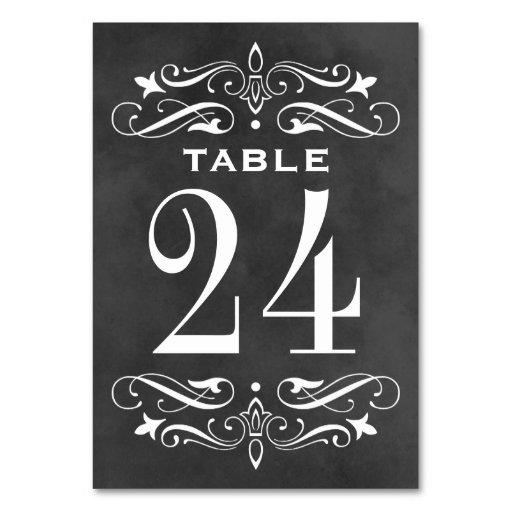 Vintage Wedding Table Cards   Chalkboard Flourish