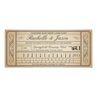 Vintage Wedding Ticket  II  Punchout 10 Cm X 24 Cm Invitation Card