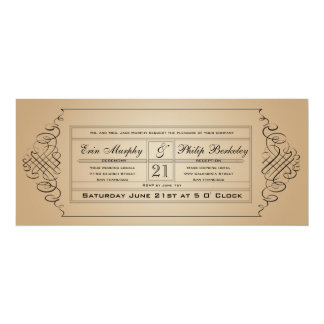 Vintage Wedding Ticket Invitation
