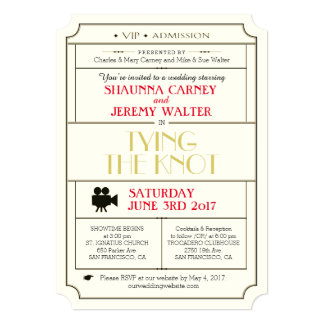 Vintage Wedding Ticket Invitation / Film Theme