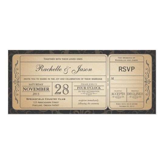 vintage wedding ticket invitation with rsvp 3 0