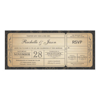 "Vintage Wedding Ticket  Invitation with RSVP 3.0 4"" X 9.25"" Invitation Card"