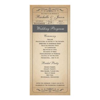 Vintage Wedding Ticket Program Full Colour Rack Card