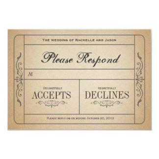Vintage Wedding Ticket  RSVP 9 Cm X 13 Cm Invitation Card
