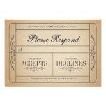Vintage Wedding Ticket  RSVP Personalized Invite