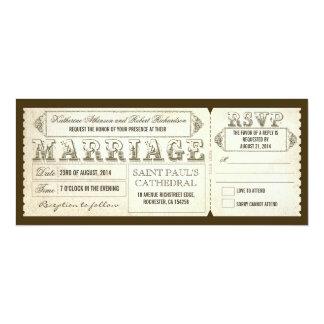 vintage wedding tickets & RSVP 10 Cm X 24 Cm Invitation Card