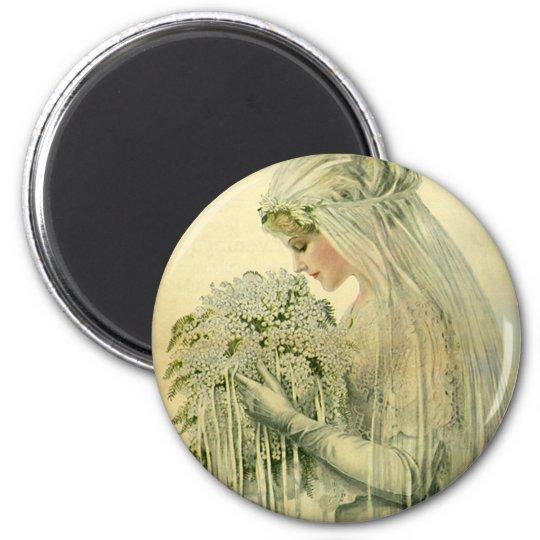 Vintage Wedding, Victorian Bride Bridal Portrait 6 Cm Round Magnet