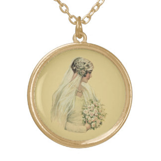 Vintage Wedding, Victorian Bride Bridal Portrait Gold Plated Necklace