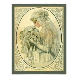 Vintage Wedding Victorian Bride Bridal Portrait Personalized Announcement