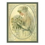 Vintage Wedding, Victorian Bride Bridal Portrait 11 Cm X 14 Cm Invitation Card