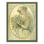 Vintage Wedding, Victorian Bride Bridal Portrait Personalised Announcements