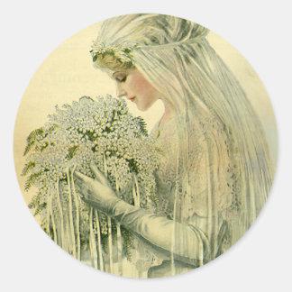 Vintage Wedding, Victorian Bride Bridal Portrait Round Sticker