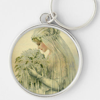 Vintage Wedding, Victorian Bride Bridal Portrait Silver-Colored Round Key Ring