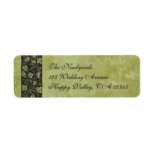 Vintage Wedding, Victorian Grape Vine Leaves Return Address Label