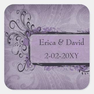 vintage wedding violet envelopes seals square sticker