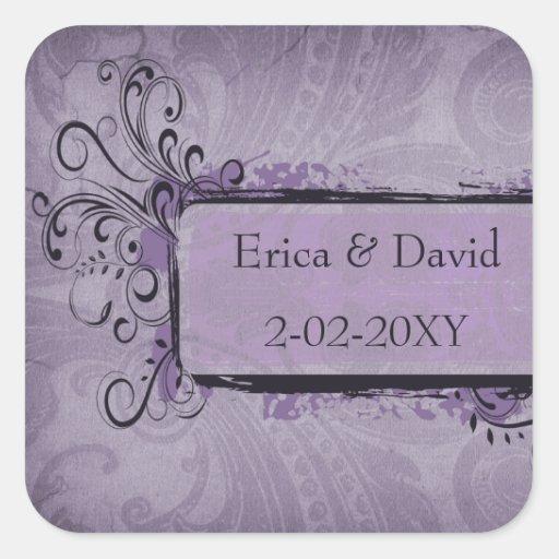 vintage wedding violet envelopes seals sticker