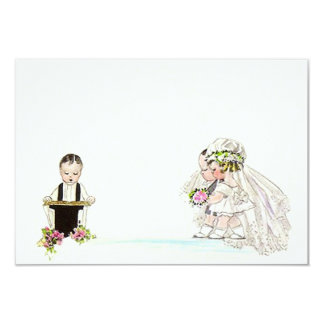 "Vintage Wedding Vows Bride Groom Blank 3.5""x5"" Card"