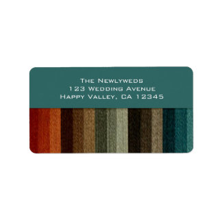Vintage Wedding, Warm Autumn Stripes Pattern Address Label