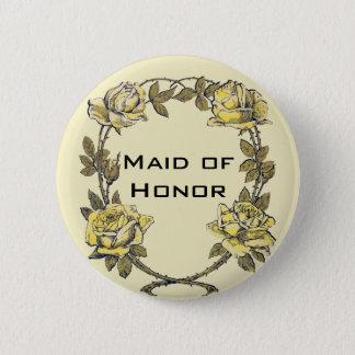 Vintage Wedding, Yellow Antique Garden Rose Wreath 6 Cm Round Badge
