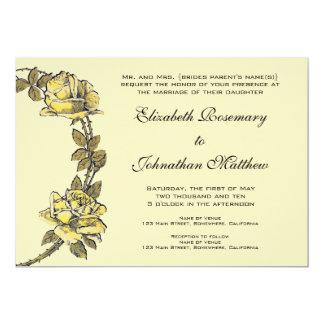 Vintage Wedding, Yellow Antique Garden Rose Wreath Card