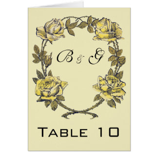 Vintage Wedding, Yellow Antique Garden Rose Wreath Card