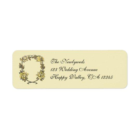Vintage Wedding, Yellow Antique Garden Rose Wreath Return Address Label
