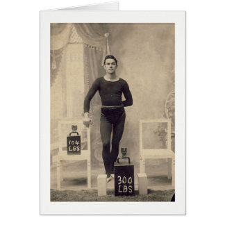 Vintage Weight Lifter Card