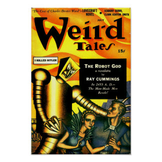 Vintage Weird Tales Robot Science Fiction Poster