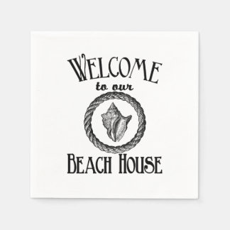 Vintage welcome to the beach house party napkins paper napkin