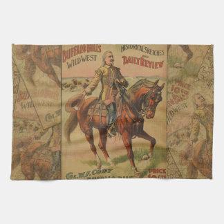 Vintage Western Buffalo Bill Artwork Illustration Tea Towel
