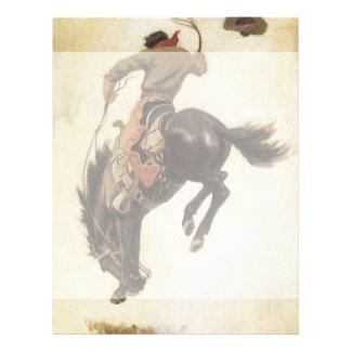 Vintage Western, Cowboy on a Bucking Bronco Horse 21.5 Cm X 28 Cm Flyer