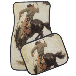 Vintage Western, Cowboy on a Bucking Bronco Horse Floor Mat