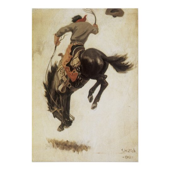 Vintage Western, Cowboy on a Bucking Bronco Horse Poster