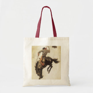 Vintage Western, Cowboy on a Bucking Bronco Horse Tote Bag