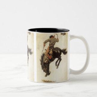 Vintage Western, Cowboy on a Bucking Bronco Horse Two-Tone Mug
