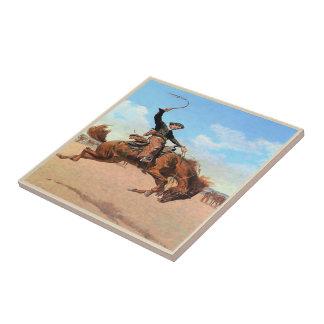 Vintage Western Cowboy Riding Wild Bucking Horse Ceramic Tile